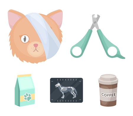 Scissors, bandaged cat, cat food. Vet Clinic set collection icons in cartoon style vector symbol stock illustration web. Illustration