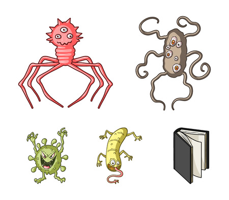 Different types of microbes and viruses. Viruses and bacteria set collection icons in cartoon style vector symbol stock illustration web.