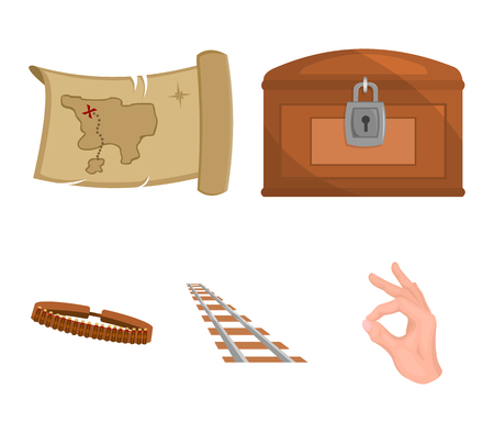 Treasure map, chest, rails, patrol.Wild west set collection icons in cartoon style vector symbol stock illustration . Illustration