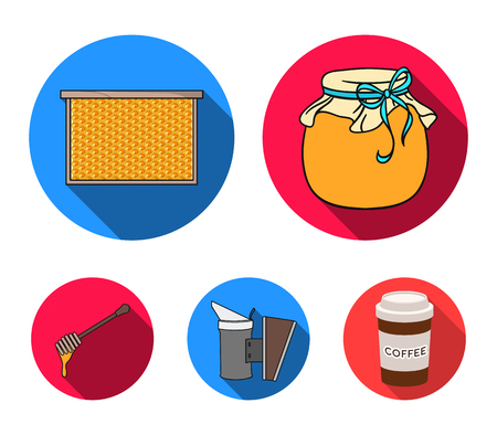 A frame with honeycombs, a ladle of honey, a fumigator from bees, a jar of honey.Apiary set collection icons in flat style vector symbol stock illustration . Illustration