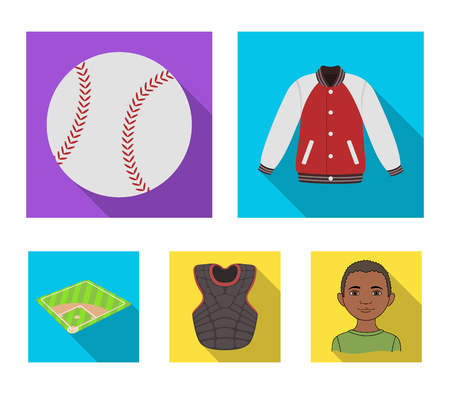 Playground, jacket, ball, protective vest. Baseball set collection icons in flat style vector symbol stock illustration web.