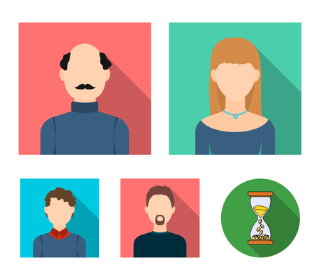 Blond woman, curly-haired teenager, bald man with a mustache, a man with a beard.Avatar set collection icons in flat style vector symbol stock illustration web. 向量圖像