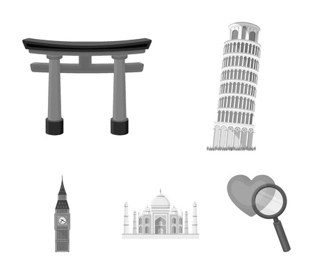 Sights of different countries monochrome icons in set collection for design. Famous building vector symbol stock web illustration.