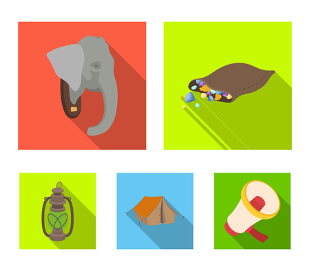 A bag of diamonds, an elephants head, a kerosene lamp, a tent. African safari set collection icons in flat style vector symbol stock illustration .