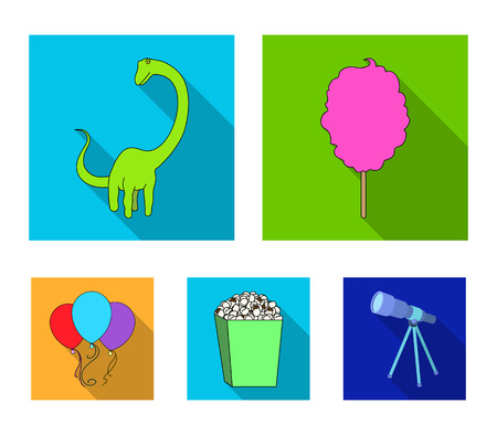 Sweet cotton wool on a stick, a toy dragon, popcorn in a box, colorful balloons on a string. Amusement park set collection icons in flat style vector symbol stock illustration web.