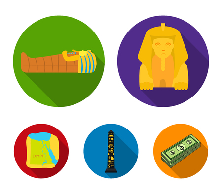 The territory of Egypt, the Sphinx, the pharaohs sarcophagus, the Egyptian pillar with the inscription.Ancient Egypt set collection icons in flat style vector symbol stock illustration web. Illustration