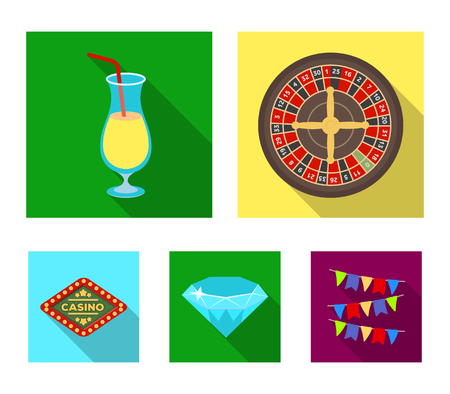 """Roulette, a glass with a drink, a diamond, a sign with the inscription """"Casino."""" Casino and gambling set collection icons in flat style vector symbol stock illustration web. Vektorové ilustrace"""
