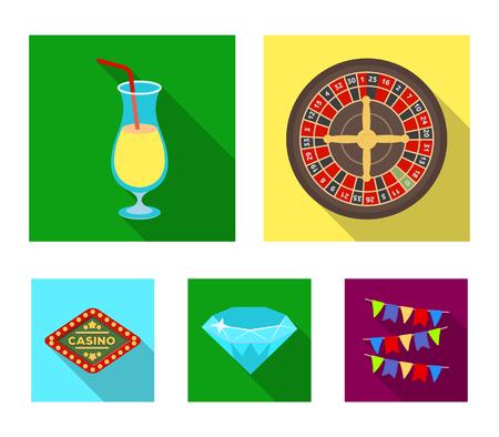 """Ruleta, un vaso con una bebida, un diamante, un cartel con la inscripción """"Casino"""". Casino e iconos determinados de juego de la colección en web plano del ejemplo del stock del símbolo del vector del estilo. Ilustración de vector"""