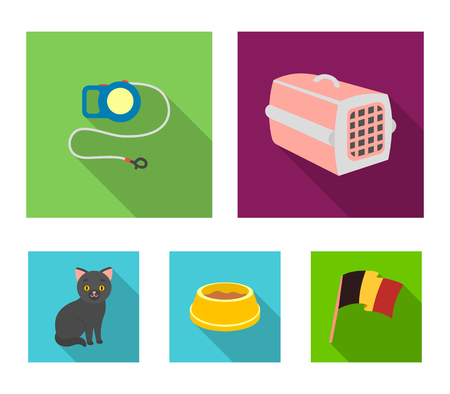 A container for an animal, a roulette leash, a bowl of food, a kitten.Cat set collection icons in flat style vector symbol stock illustration web.