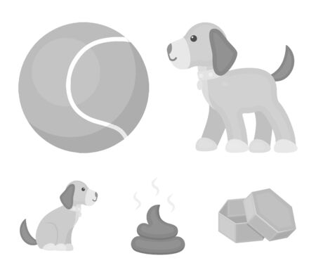 Dog sitting, dog standing, tennis ball, feces. Dog set collection icons in monochrome style vector symbol stock illustration web. Çizim