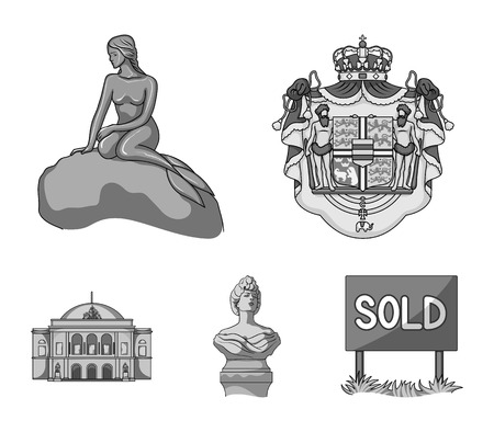 National, symbol, drawing, and other  icon in monochrome style. Denmark, attributes, style, icons in set collection. Illustration