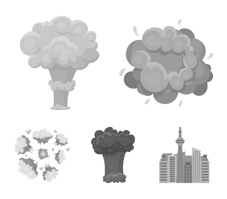Flame, sparks, hydrogen fragments, atomic or gas explosion. Explosions set collection icons in monochrome style vector symbol stock illustration . Ilustração