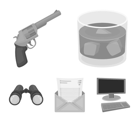A glass of whiskey, a gun, binoculars, a letter in an envelope.Detective set collection icons in monochrome style vector symbol stock illustration web.