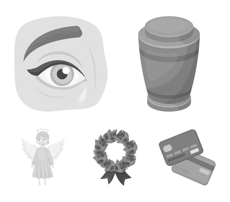 The urn with the ashes of the deceased, the tears of sorrow for the deceased at the funeral, the mourning wreath, the angel of death. Funeral ceremony set collection icons in monochrome style vector symbol stock illustration web.