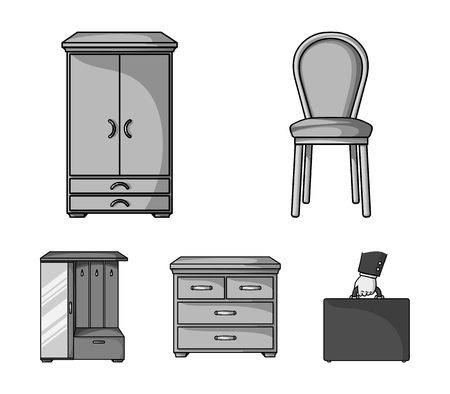 Armchair, cabinet, bedside, table .Furniture and home interior set collection icons in monochrome style vector symbol stock illustration web.