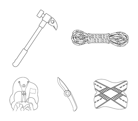 Climber on conquered top, coil of rope, knife, hammer.Mountaineering set collection icons in outline style vector symbol stock illustration .