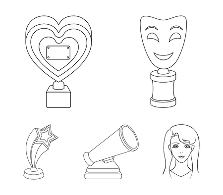 White Mask Mime for the best drama, a prize in the form of the heart and other prizes.Movie awards set collection icons in outline style vector symbol stock illustration .