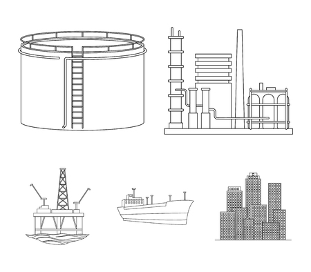 Oil refinery, tank, tanker, tower. Oil set collection icons in outline style vector symbol stock illustration .