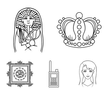 Krone, Sarkophag des Pharaos, Funksprechgerät, Bild im Rahmen Gesetzte Sammlungsikonen des Museums in der Entwurfsartvektorsymbol-Vorratillustration. Standard-Bild - 95924094