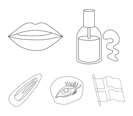 Nail polish, tinted eyelashes, lips with lipstick, hair clip.Makeup set collection icons in outline style vector symbol stock illustration web.