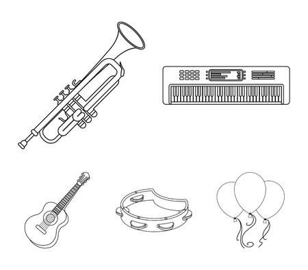 Electro organ, trumpet, tambourine, string guitar. Musical instruments set collection icons in outline style vector symbol stock illustration web. Illustration