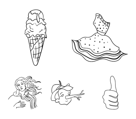 Italian dress, gelato, pinocchio, goddess of love. Italy set collection icons in outline style vector symbol stock illustration web. Illustration