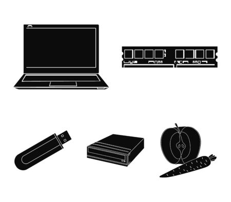 Flash drive, laptop, memory card.Personal computer set collection icons in black style vector symbol stock illustration web. Archivio Fotografico - 96065663
