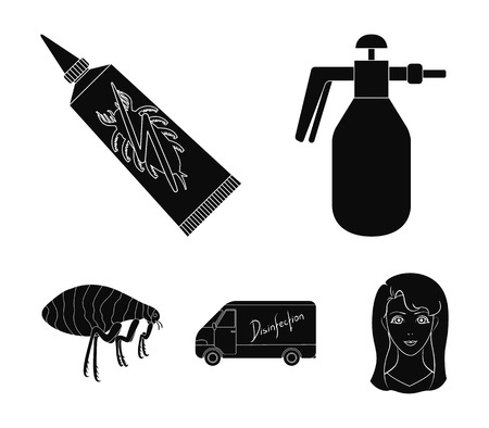 Flea, special car and equipment black icons in set collection for design. Pest Control Service vector symbol stock web illustration.
