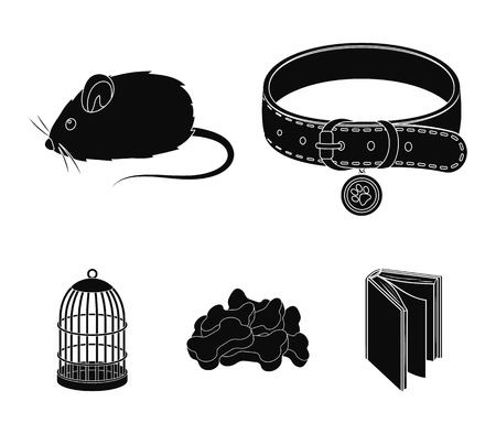 A collar, a forage, a toy, a cage and other products of the zoo store.Pet shop set collection icons in black style vector symbol stock illustration web.