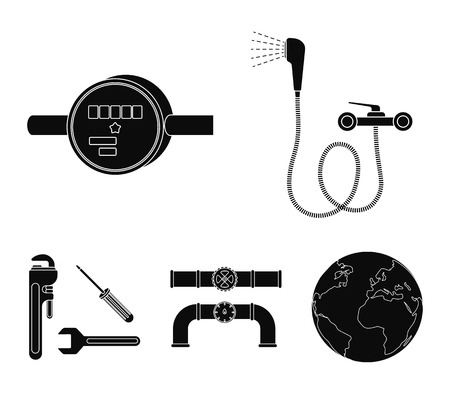 Shower, faucet, water meter and other equipment.Plumbing set collection icons in black style vector symbol stock illustration web.  イラスト・ベクター素材