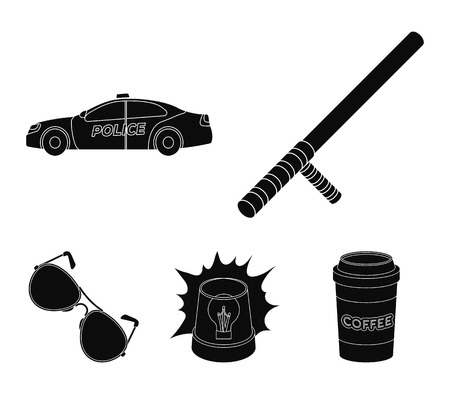 Police baton, auto, flasher, glasses.Police set collection icons in black style vector symbol stock illustration web.
