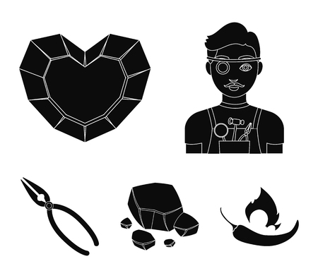 Jeweler, pliers, gold ore, garnet in the form of heart. Precious minerals and jeweler set collection icons in black style vector symbol stock illustration web.