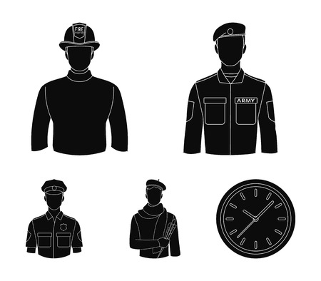 Military, fireman, artist, policeman.Profession set collection icons in black style vector symbol stock illustration web.