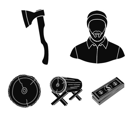 Carpenter, log on supports, ax, cut logs. Sawmill and timber set collection icons in black style vector symbol stock illustration web. Ilustracja