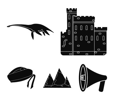 Edinburgh Castle, Loch Ness Monster, Grampian Mountains, national cap balmoral,tam o'shanter. Scotland set collection icons in black style vector symbol stock illustration web.