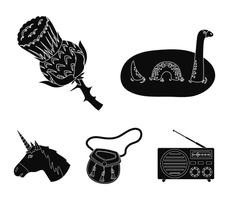 Loch Ness monster, thistle flower, unicorn, sporan. Scotland country set collection icons in black style vector symbol stock illustration web.