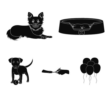 Lounger for a pet, clipping of claws in a vet clinic, lying dog, puppy with a ball. Vet clinic and pet,dog care set collection icons in black style vector symbol stock illustration web.