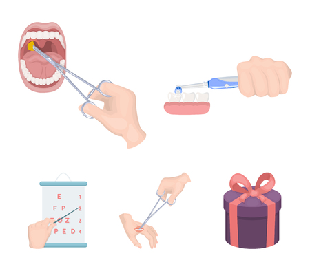Dental care, wound treatment and other web icon in cartoon style.oral treatment, eyesight testing icons in set collection. Stock Illustratie