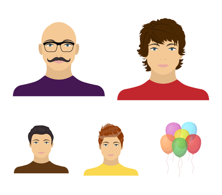 The appearance of the young guy, the face of a bald man with a mustache in his glasses. Face and appearance set collection icons in cartoon style vector symbol stock illustration web.