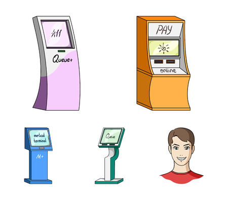 Medical terminal, ATM for payment,apparatus for queue. Terminals set collection icons in cartoon style isometric vector symbol stock illustration web .