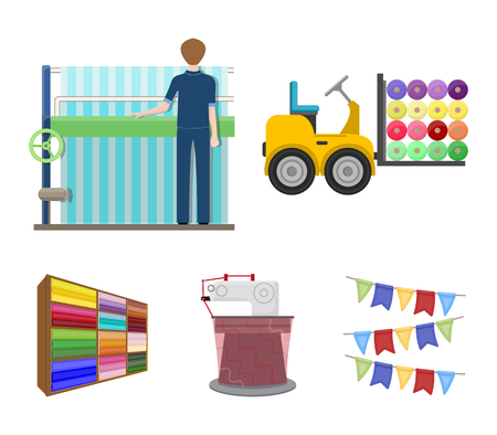 Equipment, machine, forklift and other web icon in cartoon style.Textiles, industry, tissue, icons in set collection.