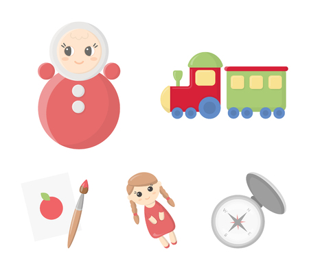 Train.kukla, picture.Toys set collection icons in cartoon style vector symbol stock illustration web. Çizim