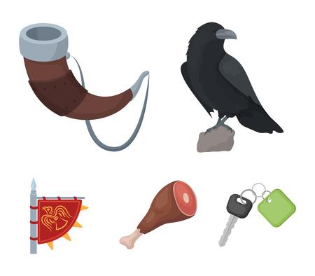 Sitzende Krähe, Horn mit Getränk, Schinken, Siegesfahne. Wikinger stellten Sammlungsikonen in der Karikaturartvektorsymbol-Vorratillustration ein.