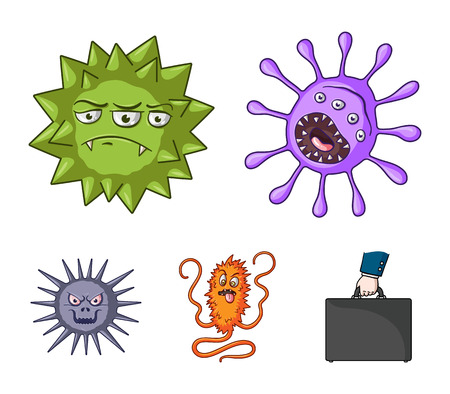 Viruses and bacteria set collection icons in cartoon style