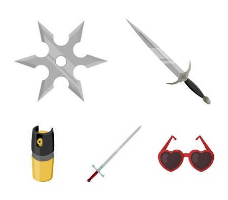 Weapons set collection icons in cartoon style with sword, two-handed sword, gas balloon, shuriken and heart-shaped eyeglasses.