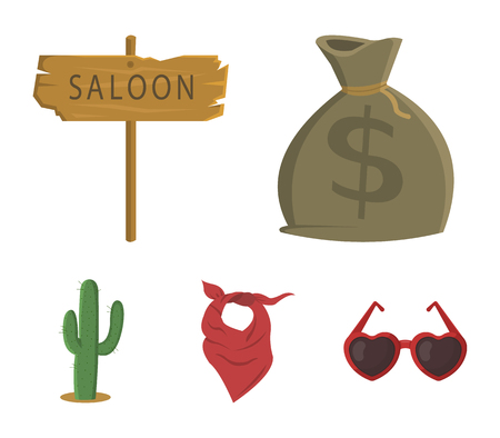 Wild west set collection icons in cartoon style with bag of money, saloon, kerchief and cactus.
