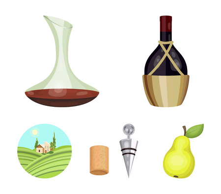 A bottle of wine in a basket, a gafine, a corkscrew with a cork, a grape valley. Wine production set collection icons in cartoon style.