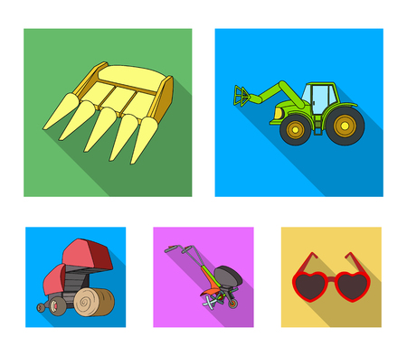 Motoblock and other agricultural devices. Agricultural machinery set collection icons in flat style.