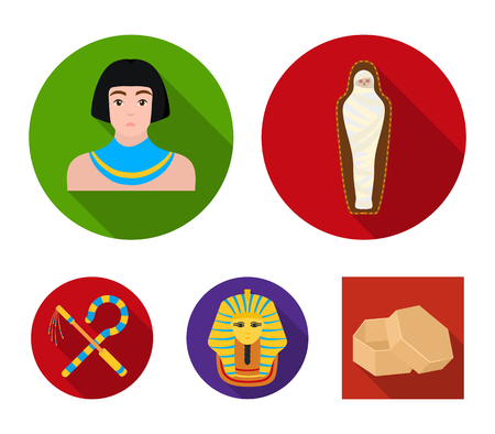 Crook and flail, a golden mask, an egyptian, a mummy in a tomb. Ancient Egypt set collection icons in flat style. Ilustração