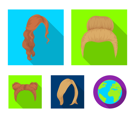 Hair set collection icons in flat style vector symbol stock illustration web. 矢量图像